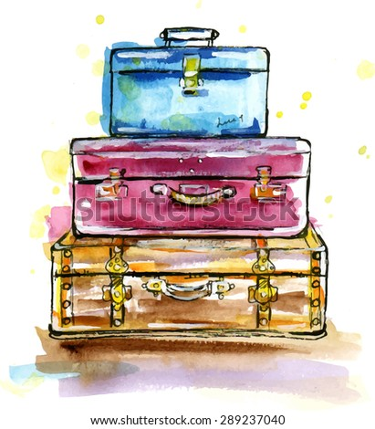 Hand drawn watercolor illustration of Vintage suitcases in sketch style - stock vector