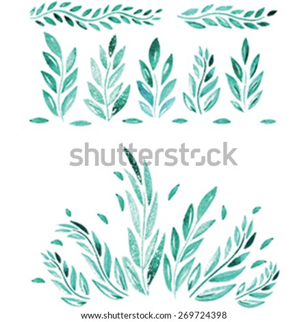 Hand Drawn watercolor leaf - stock vector