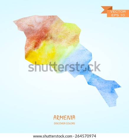 hand drawn watercolor map of Armenia isolated. Vector version - stock vector