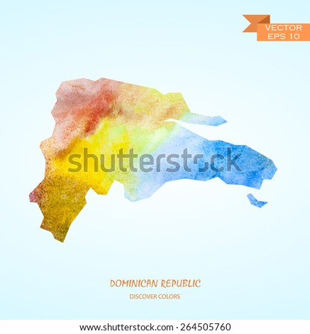 hand drawn watercolor map of Dominican republic isolated. Vector version - stock vector
