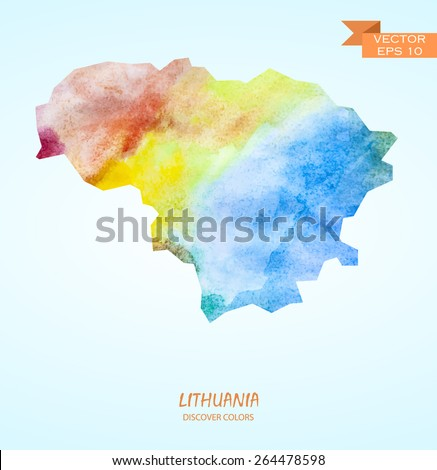hand drawn watercolor map of Lithuania isolated. Vector version - stock vector