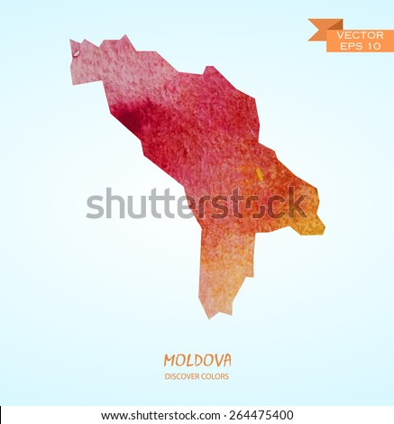 hand drawn watercolor map of Moldova isolated. Vector version - stock vector