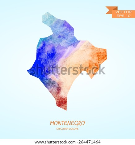 hand drawn watercolor map of Montenegro isolated. Vector version - stock vector
