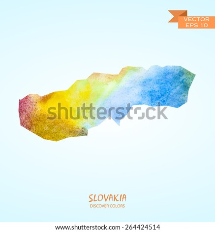 hand drawn watercolor map of Slovakia isolated. Vector version  - stock vector