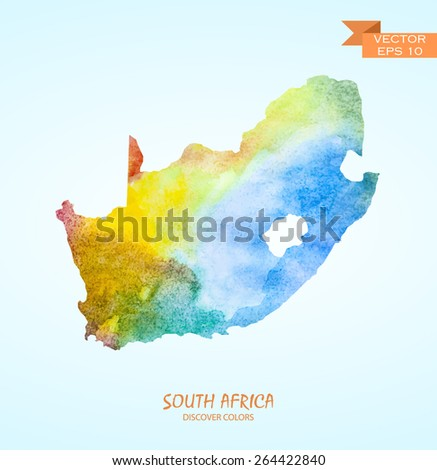 hand drawn watercolor map of South Africa isolated. Vector version - stock vector