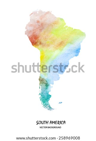 hand drawn watercolor map of South America isolated on white. Vector version - stock vector