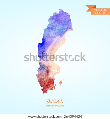 hand drawn watercolor map of Sweden isolated. Vector version - stock vector
