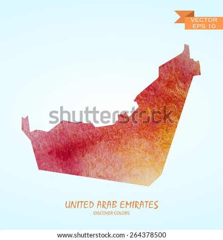 hand drawn watercolor map of United Arab Emirates isolated. Vector version - stock vector