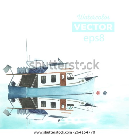 Hand drawn watercolor powerboat with reflection. Made in vector. - stock vector