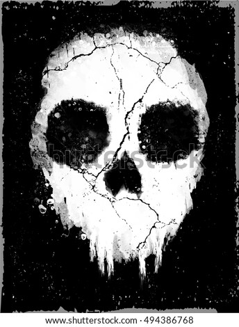 Hand Drawn Watercolor Skull In Black Grunge Background. Vector Skull Illustration.