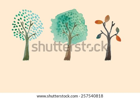 Hand drawn watercolor trees. Vector illustration - stock vector