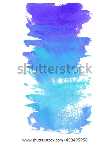 Hand drawn watercolor  vertical background. Gradient wash in light and deep blue colors. Vector template for graphics and lettering. - stock vector