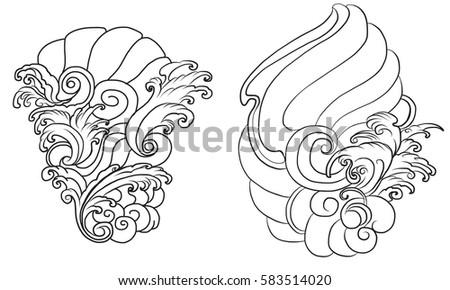 Hand Drawn Wave For Tattoo Designbackground Japanese