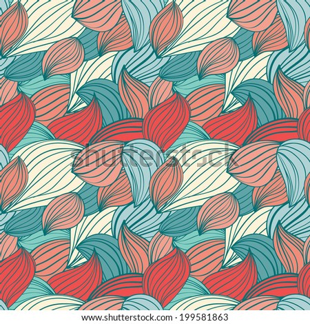 hand-drawn waves pattern. wavy background. Seamless wallpaper pattern fills, web page background or surface textures.