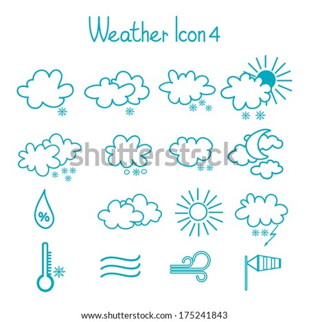 Hand drawn weather icons set