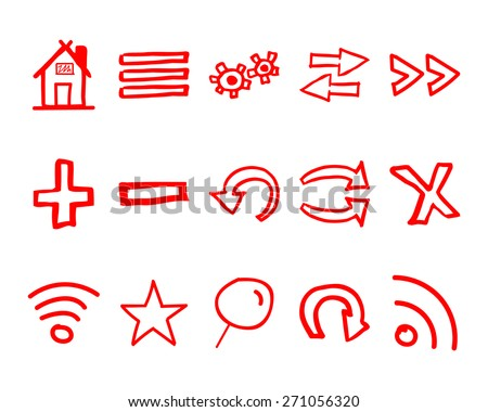 Hand drawn web icons and logo, arrows, internet browser elements set. Sketch, doodle stylish and unusual design. Isolated on white background. Vector illustration - stock vector