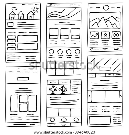 hand drawn website layouts doodle style stock vector 394640023 shutterstock. Black Bedroom Furniture Sets. Home Design Ideas