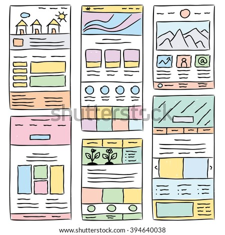 Hand Drawn Website Layouts Doodle Style Stock Vector
