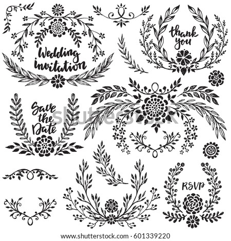 hand drawn wedding collection with lettering black and white vector set of sketched branches