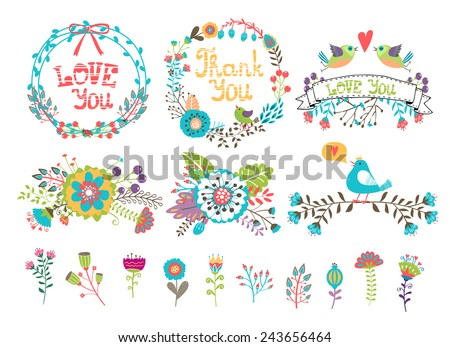 Hand drawn wedding graphic. Flowers and wreaths for invitations. Set of colored elements drawn from plants and flowers for decoration - stock vector