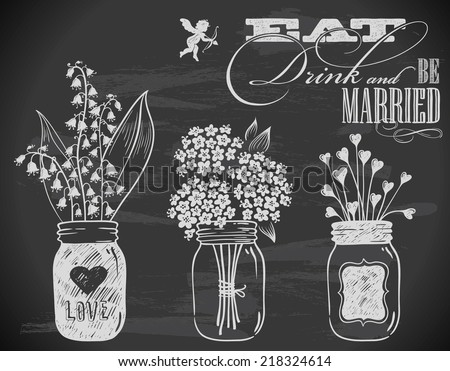hand-drawn wedding invitation with flowers on chalkboard - stock vector