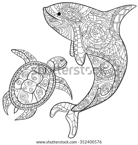 Hand Drawn Whale Turtle Isolated On Stock Vector (Royalty ...