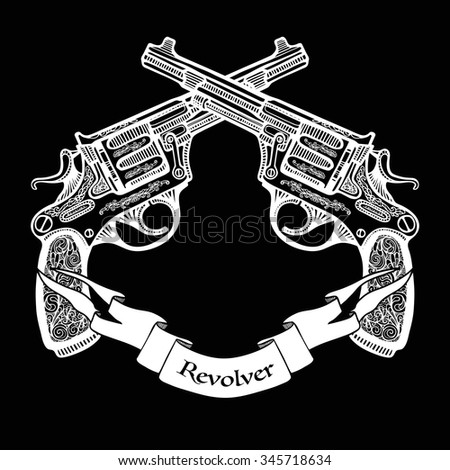 Hand drawn white  crossed pistols in vintage style with ribbon on black background   vector illustration  - stock vector