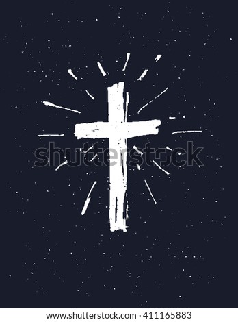 Hand drawn white grunge cross, simple Christian cross sign,  isolated on black background.