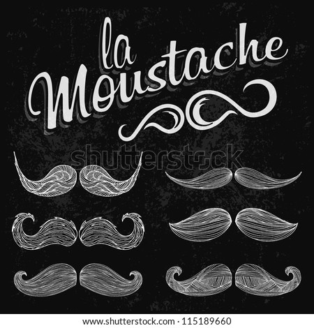 Hand Drawn White Mustache Set - stock vector