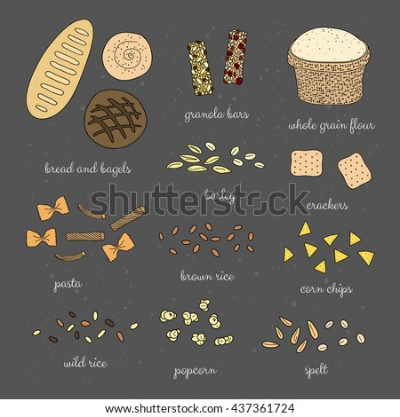 Hand drawn whole grain foods on chalkboard background. Bread, bagel, pasta, popcorn, granola bars, crackers, rice, spelt, barley, flour, corn chips. - stock vector