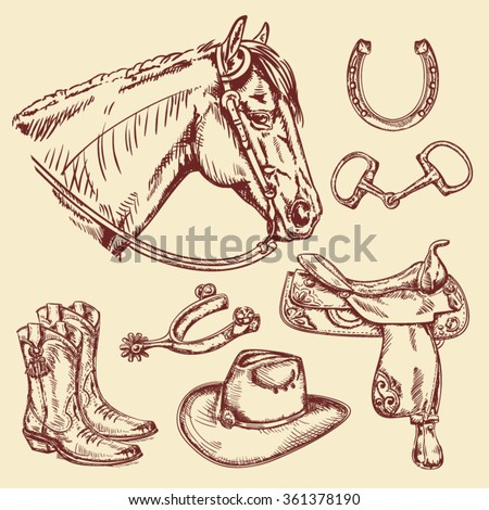 Hand drawn Wild West and Cowboy collection with horse head  - stock vector