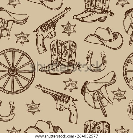 Hand drawn Wild West western seamless pattern.Cowboy boots, cowboy hat,  gun, sheriff star, horseshoe