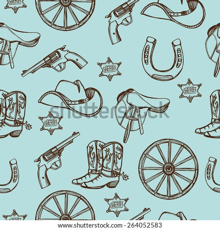Hand drawn Wild West western seamless pattern. Cowboy hat, cowboy boots, gun, sheriff star, horseshoe. Turquoise background