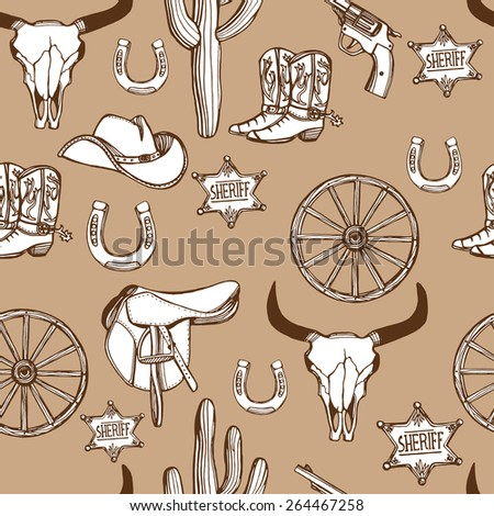Hand drawn Wild West western seamless pattern. Cowboy hat, cowboy boots, gun, sheriff star, horseshoe, cactus, cow scull. Brown background - stock vector