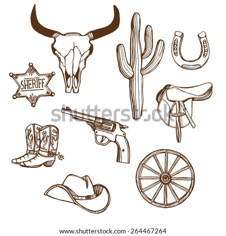 Hand drawn Wild West western set. Cowboy hat, cowboy boots, gun, sheriff star, horseshoe, cactus, cow scull, wheel. - stock vector