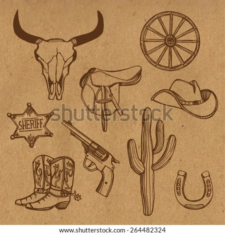 Hand drawn Wild West western set. Cowboy hat, cowboy boots, gun, sheriff star, horseshoe, cactus, cow scull wagon wheel. Craft paper background - stock vector