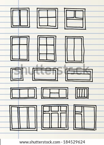 Hand drawn windows isolated on a lined page - stock vector