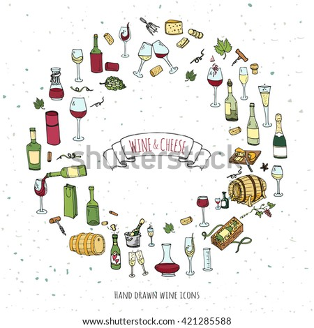 Hand drawn wine and cheese set icons. Vector illustration Sketchy tasting elements collection isolated on white Objects Cartoon symbols Vineyard background Winery Grape Glass Bottle package Oak barrel - stock vector