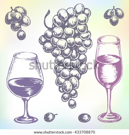 Hand-drawn wine vector. Grape wine or beverage drink set. Ink drawn grape wine illustration with wine, grape, wine tumbler, wine glass, grapes, grape bunches, grape berries. - stock vector