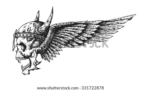 Hand drawn winged skull in horned helmet. Vector illustration - stock vector