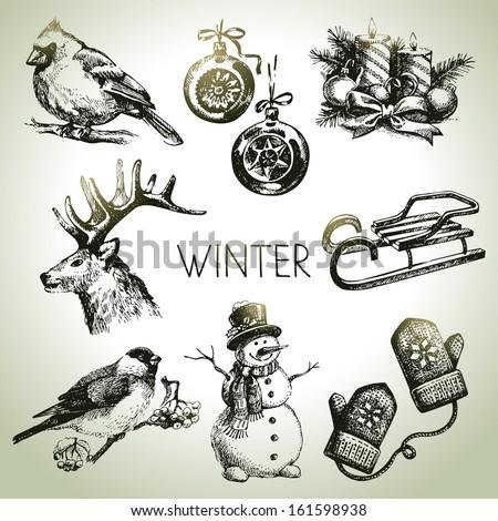 Hand drawn winter Christmas set  - stock vector