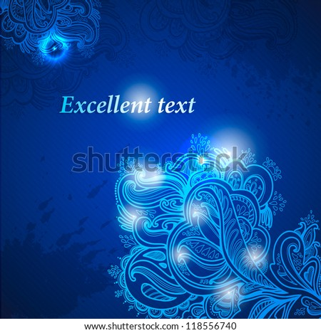 Hand Drawn winter floral ornaments with flowers. vector blue background - stock vector