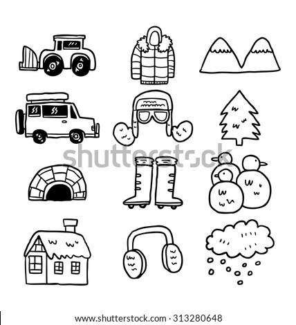 hand drawn winter icon - stock vector