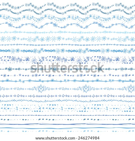 Hand drawn winter line border set.Snowflake seamless pattern, ornament, ribbon.Colored Doodle decor.For decorating greeting card, design template, invitations, holiday, baby design.Vector  - stock vector