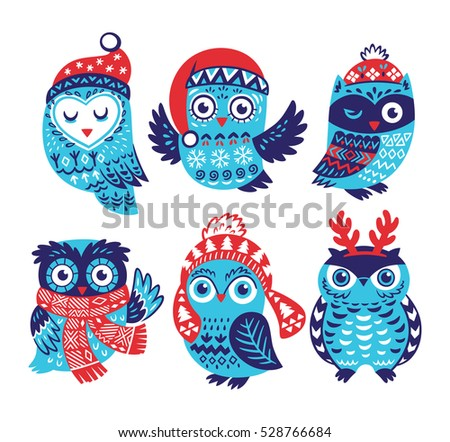 Hand drawn winter owls collection in knitted hats, scarves and reindeer antlers. Cartoon characters. Vector illustration