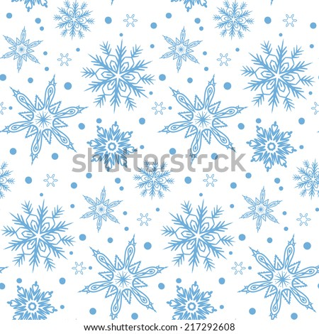 Hand drawn winter pattern with various falling snowflakes for Christmas background and holiday decor in white and cool blue colors. Seamless vector texture. - stock vector