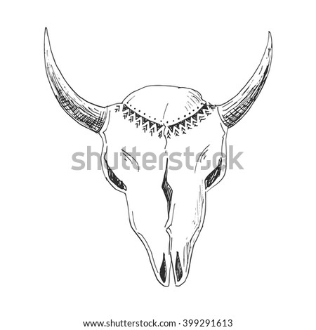 Hand-drawn with ink bull skull with native ornament.  Tribal American Indian vector illustration isolated on white. Ethnic design, aztec decor, tribal style