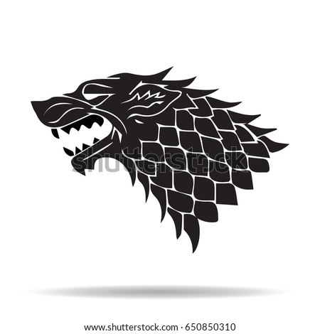 hand drawn wolf head black silhouette