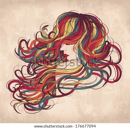 Hand drawn woman with long colorful hair - stock vector