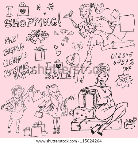 Hand drawn women with shopping bags and present boxes, Shopping doodles, sketch - stock vector